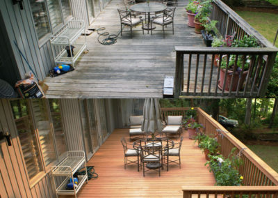 Before and after of a porch in Greensboro, NC