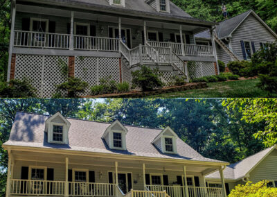 Before and after of a house in Greensboro, NC